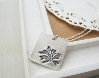 Fern leaf metal clay fine silver square pendant sterling silver necklace, for wife, bridesmaid necklace, wedding gift, eco friendly