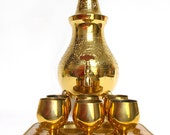 9-Piece Miniature Brass Chalice Set - 6 Goblets, 1 Tray, 1 Wine Dispenser / Holy Communion / Made in India