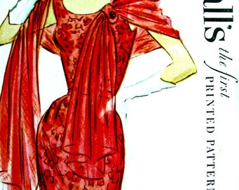 UNCUT * Vintage 1950s McCall's Pattern 9570 - GLAMOROUS EVENING Party Sheath Dress and Stole  // Size 12 * bust 30