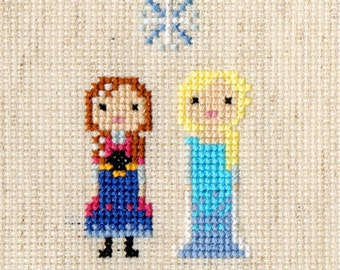Anna & Elsa (Disney's Frozen) Pixel Portrait Cross Stitch Pattern (PDF)