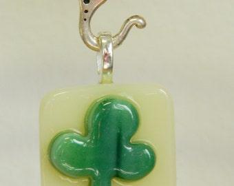 Fused Glass Shamrock Pendant,  Irish Seamróg (little clover), P3