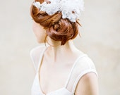 Wedding Headpiece lace Bridal Headpiece Pearl comb Leaves Headpiece - Style 316