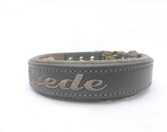 "Personalized Leather and suede Dog Collar with side release buckle dog collar - 1"" width"
