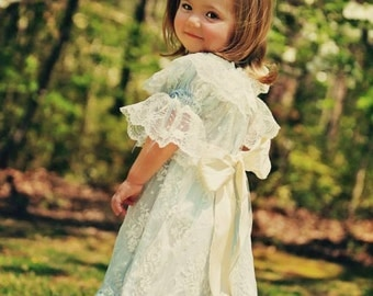 Vintage Inspired Lace Overlay Girl Special Occasion Flower Girl Dress with Monogrammed  Sash