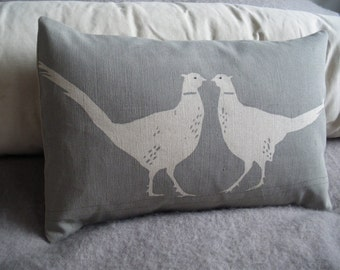 hand printed kissing pheasant cushion cover