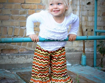 "Girls Ruffle Pants- Autumn Hues Chevron - Made from Viola Lee Pattern ""Emma Lee"""