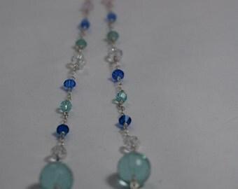Dynamic aqua Czech glass beads with Swarovski crystal & Czech glass necklace. Blue, aqua, crystal wire wrapped, Sterling silver necklace.