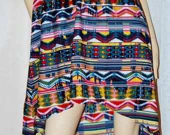 South Western Aztec HIGH LOW  Indie Boho Chic DreSS ReSoRT BEaCH Vtg JeT Set 80s 90s