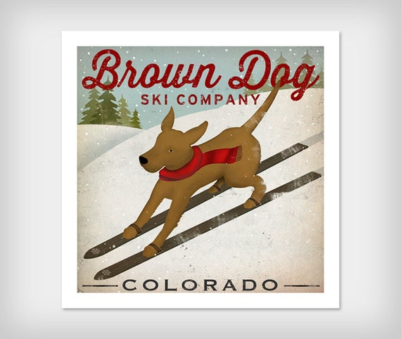 Brown Dog Ski Company Labrador Retriever GICLEE print  12x12 inches signed
