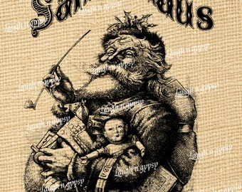 Santa Claus Vintage Style Digital Image Transfer For Christmas Holiday Pillows Totes Gift Cards Iron Ons