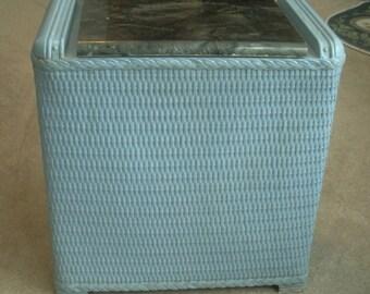 Vintage Blue Woven Laundry Hamper With Black Lid