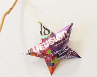 V8 V-Fusion Blueberry Pomegranate  Juice  Ornament Aluminum Can Upcycled Repurposed