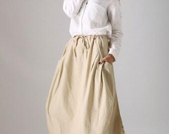 maxi skirt pockets, Casual skirt,  linen skirt, womens skirts, custom skirt,  midi skirt, Beige skirt,drawstring skirt,plus size skirt 77912
