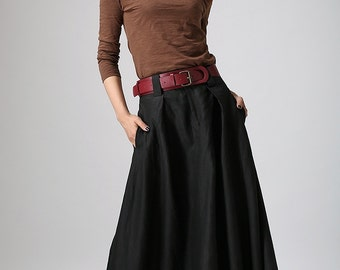 Black skirt, maxi skirt, womens skirts, long skirt for women, linen skirt, spring skirt, fitted waist skirt, pockets skirt, plus size  902