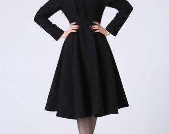Black dress, wool dress, winter dress, ladies dresses,flared dress, maxi dress, knee length dress, fit and flare dress, Custom made  1055