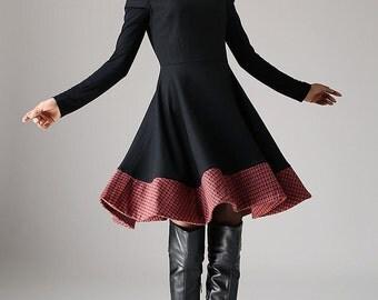 sale, wool dress, patchwork dress, black wool dress,mini dress,womens dresses,size M, fit and flare dress,skater dress, ladies clothing 1080