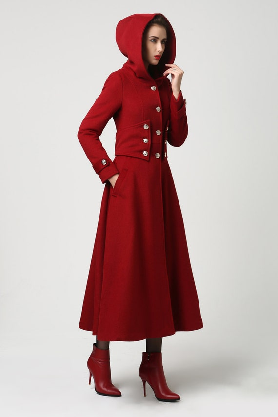 Long Red Womens Coat
