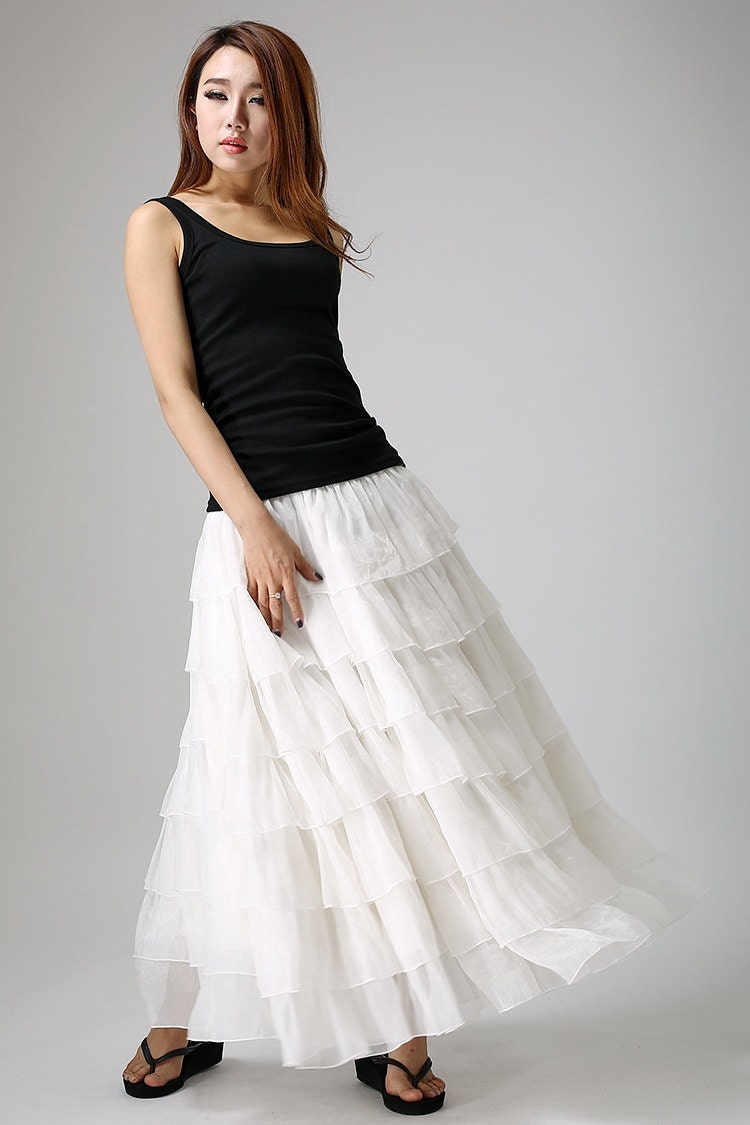 Brilliant Autumn Winter Wool Skirt For Women Plus Size Long Skirt High Waist Pleated Skirts Women