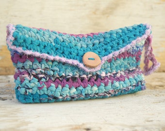 Crocheted Rag Clutch, Rustic Turquoise Blue and Purple Clutch, Eco Friendly Purse