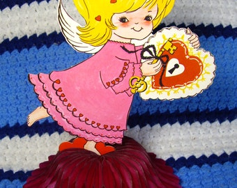 "Valentine Honeycomb Art Tissue Table Centerpiece, Cupid,  9 1/2"", Valentines Day Decor, Party Supplies"