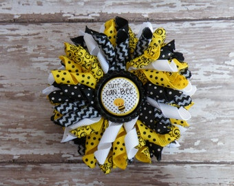 """3"""" Cute as Can BEE Korker, Black and Yellow Korker, Bee Bow"""