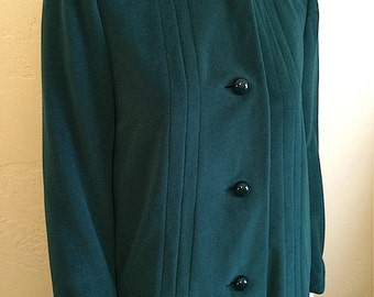Vintage Women's 80's/40's Coat, Green, Fully Lined, Winter Jacket by Bromley (M)