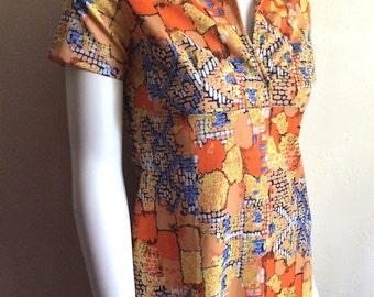 Vintage Women's 70's Maxi Dress, Printed, Polyester, Short Sleeve, Full Length (S)