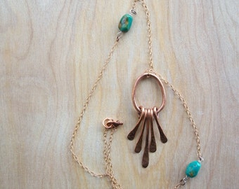 A Stone's Throw - Salvaged Copper Unique Statement Necklace - Turquoise Nugget - Bronze - for Her Holiday Gift