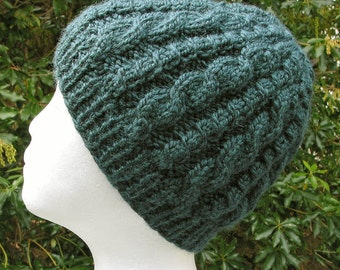 Teal Cable Hat - Beanie Cap- Adult or Teen Unisex