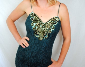 Vintage 80s Fredericks of Hollywood Green Lace Butterfly Beaded Maxi Dress