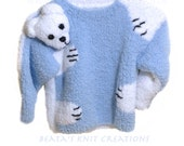 "RESERVED FOR ""MYCRAZYNANA"" Kids Fluffy Bear Intarsia Sweater, Hand Knit Bulky Children Sweater, Pullover, Kids Wear by Bayahta"