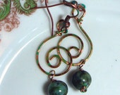 Hammered Copper Earrings Spiral Rustic with Mexican Turquoise Bead