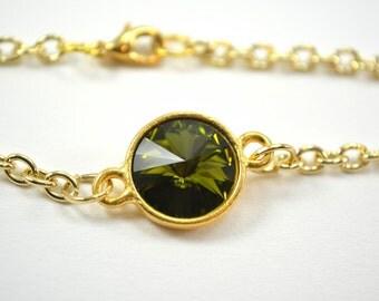 Gold Green Crystal Chain Bracelet Olive Bracelet Swarovski Crystal Gold Bracelet