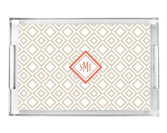 Personalized Lucite Tray - Monogrammed Serving Tray - Wedding Gift for Couples Tray - Diamond Pattern
