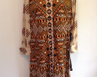 Vintage Hippie, Love Child, Geometric print dress from 1960.  New old stock.  Avalon Classics.  Size 12.  Brown Orange tan.