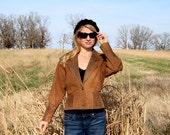 Vintage 80's Leopard Crop Leather Jacket S M Dolman Sleeves Animal Print Thriller Detail Adler Leather