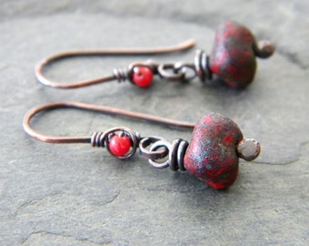 Red Pepple Copper Earrings Red Cora Czech Glass Dark Red Rock Nuggets Oxidized Copper Artisan Jewelry