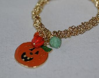 Halloween Charm Bracelet ,  Pumpkin Charm Bracelet , Halloween Stretch Bracelet , Pumpkin Bracelet
