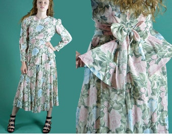 Vintage 80s Dress ROMANTIC FLORAL Maxi Dress / Drop Waist Peplum Garden Party Dress / Pastel Floral Dress Sash Tie Puff Taper Sleeves XS / S
