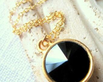 Black Crystal Necklace, Swarovski Rivoli Crystal Necklace, Black and Gold Necklace, Gold Necklace, 14K Gold Necklace, Bridesmaid Necklace