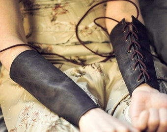 SMALL Brown Pleather Bracers with Brass Grommets and Brown Cotton Laces (PAIR)