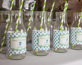 Robot Birthday Party Water Bottle Labels - Robot Birthday Party Decorations in Green and Blue (12)