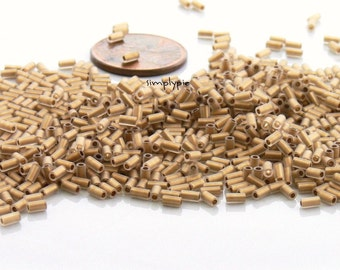 3mm TOHO Bugle Frosted Gold-Lined Crystal Glass Beads 10-Grams