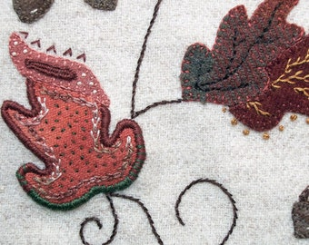 Jacobean Flower Wool Applique, Hand Embroidery / Pattern / Jac 003