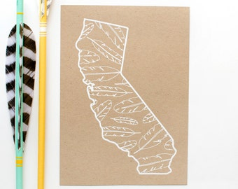 California Screen Print - 5x7 - Feathers - original screen print - ooak - rustic - natural - white on kraft