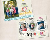 Christmas Photo Card Publisher Template DIY  - John 10:10 Abundant Life - Two Sided - INSTANT DOWNLOAD