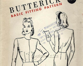 Vintage 1940s Basice Fitting Blouse Pattern...Collarless and Long Sleeves...Butterick S-224 Bust 32 UNCUT