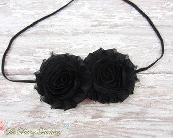 Black Flower Headband, Black Chiffon Rosettes Duo Black Headband or Hair Clip, Newborn Infant Baby Toddler Child Girls Headband