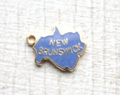 3 Vintage 1960s Blue Enameled New Brunswick Charms // Canadian Kistch