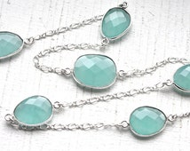 3 Feet Peru Chalcedony Bezel Set Gemstones and Sterling Silver Wired Chain // Bezel Set Gem Chain // Jewelry Supply